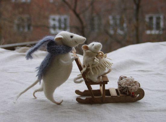 Stuffed Animals by Natasha Fadeeva - winter walk - mice with sledge