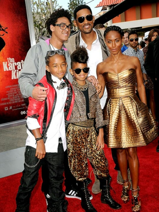 Will Smith with wife Jada Pinkett Smith with their 2 kids Jaden and willow and Will's son Tray with ex wife Sherre Zampino