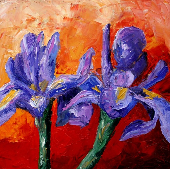 Irises oil on canvas daily painting
