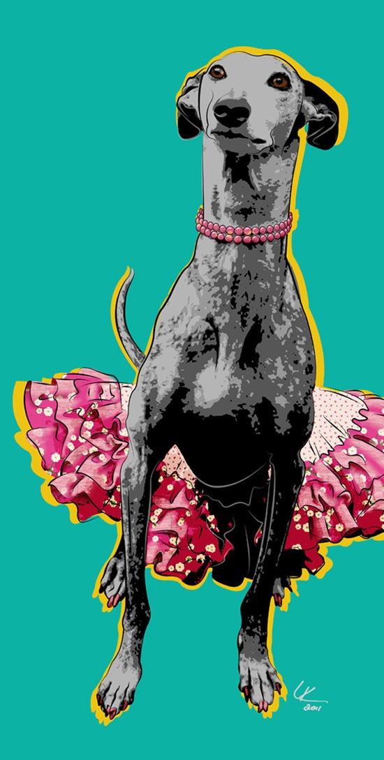 Nina In a TuTu Greyhound Pop Art Print Galgo Art by PopDogDesigns
