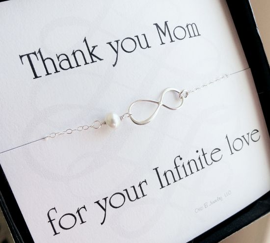 Mother of the bride gifts, mother of the groom gifts, message card with infinity bracelet gift set,  Mother's jewelry, mother in law gifts. $29.50, via Etsy.