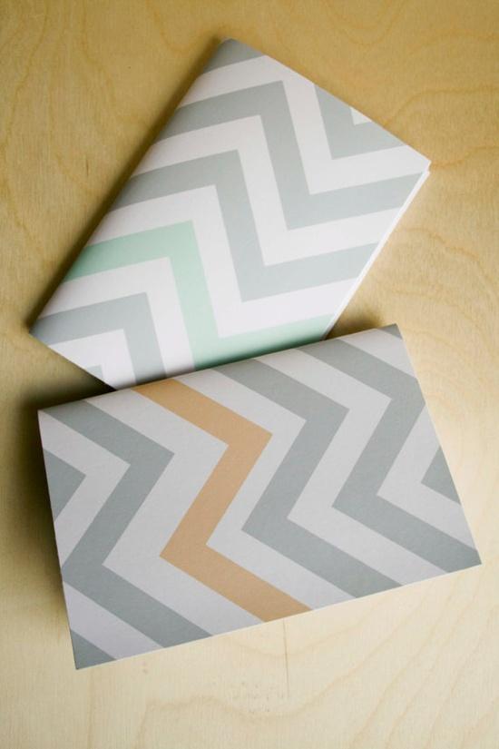 notebook set in chevron