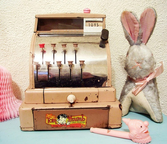 happy things  #bunny #vintage #toys # cash register # tin
