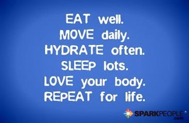 EAT well. MOVE daily. HYDRATE often. SLEEP lots. LOVE your body. REPEAT for life.