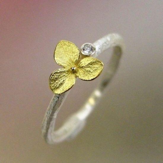 Hydrangea Blossom and Diamond Stacking Ring by PatrickIrlaJewelry