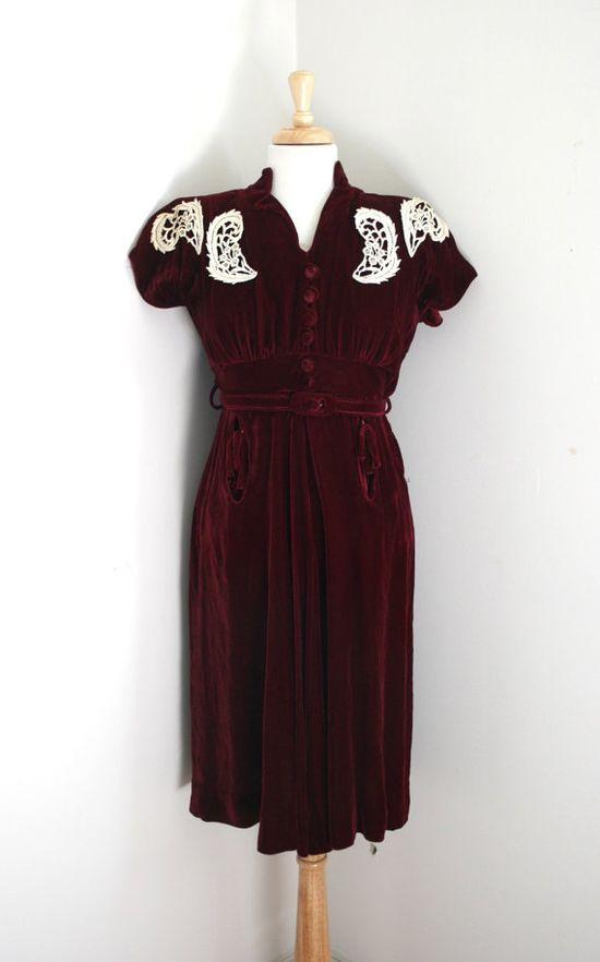 Vintage 1940s 'Miss Stuart Fashions' Merlot Silk by adelinesattic, $128.00
