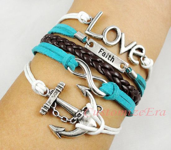 Anchor bracelet, love bracelet, Infinity bracelet--Antique silver Bracelet--Wax Cords and Imitation Leather Bracelet.