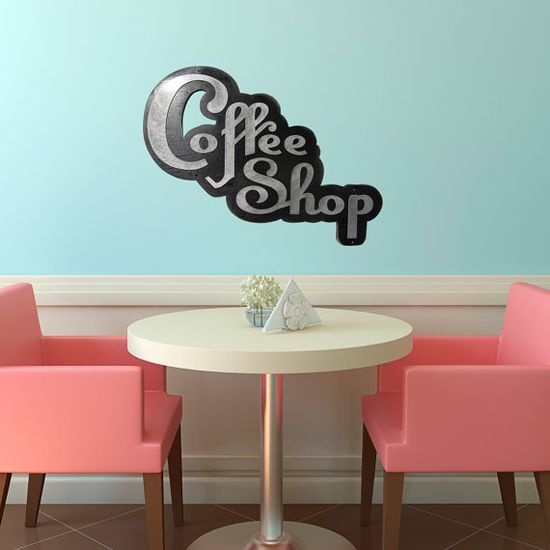 RETRO COFFEE SHOP Sign Wood and Aluminum Iron on by studio724, $85.00