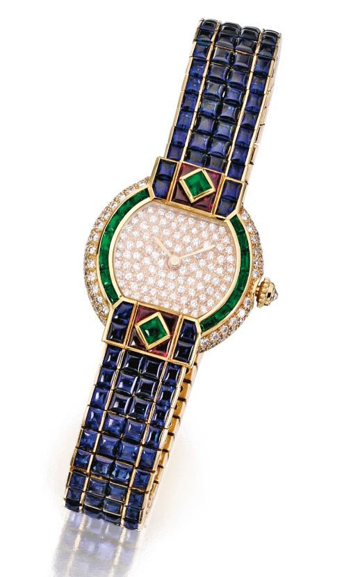 18 Karat Gold, Colored Stone and Diamond 'St. Petersburg' Wristwatch, Cartier