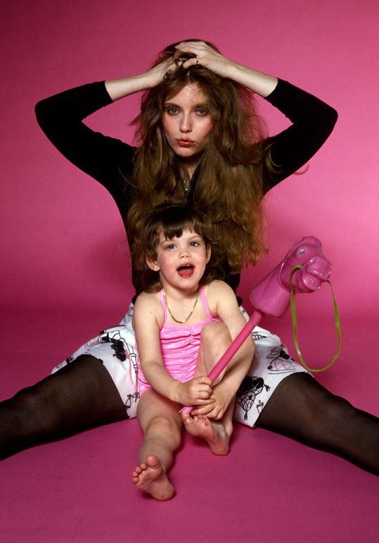 a teeny tiny Liv Tyler with mom, Bebe.