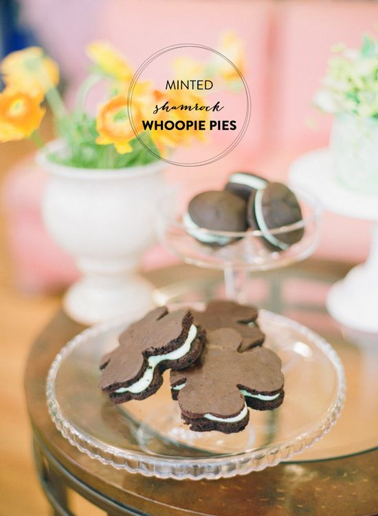 Minted Shamrock Whoopie Pies. Recipe here: www.stylemepretty...