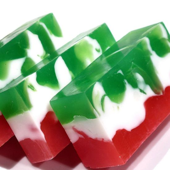 Christmas Soap Bar Swirl in Red White and Green on Etsy, $5.25