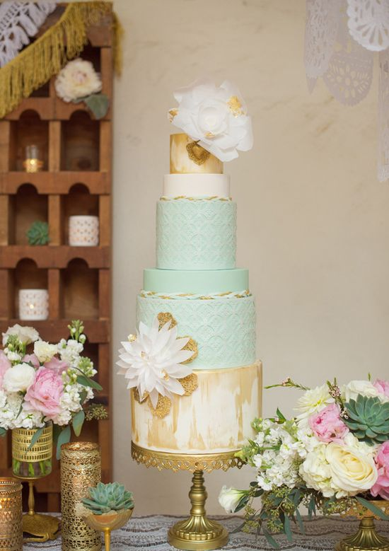 Wow, this mint  wedding cake is dripping in gold!