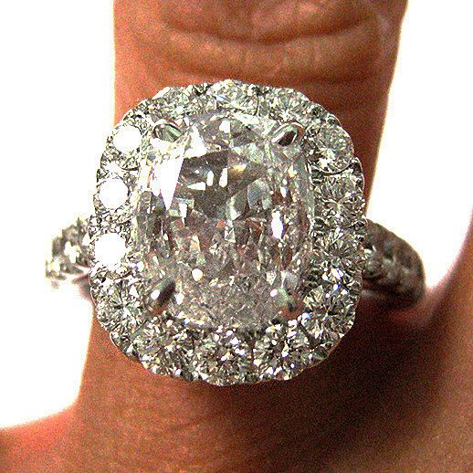 Items similar to Reserved....3.25ct Antique Vintage CUSHION Diamond Engagement Ring in White Gold on Etsy