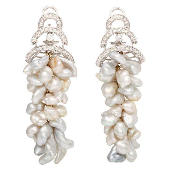 Keshi Pearl & Diamond Chandelier Earclips