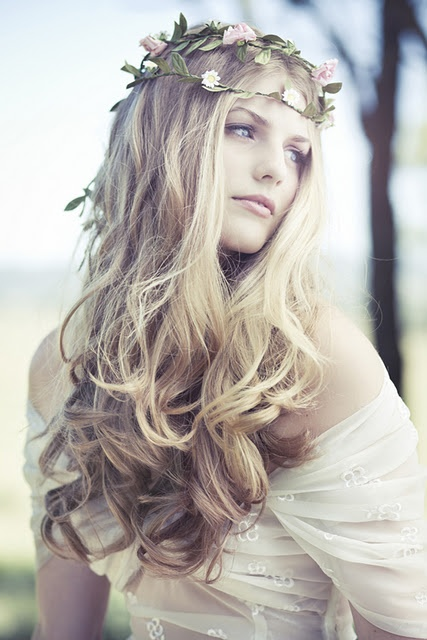 #pretty #girl with #garland, long #curly #hair