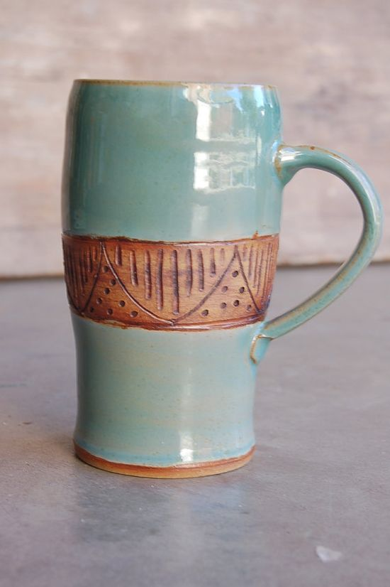Stoneware Mug, 12 oz Handmade Pottery Keramik Kitchen Serving Dining Housewares Cup in Blue and Brown