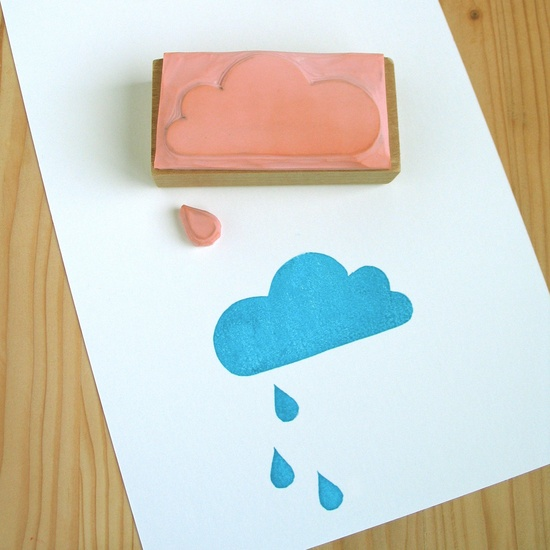 **Want this stamp? Send me a message in Etsy saying you saw it on Pinterest and I will give you a coupon code for $1.00 off. ** Cloud with rain drop carved rubber stamp.