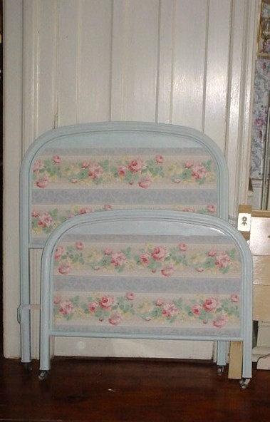 Vintage Metal Bed Wallpaper Roses Cottage Chic