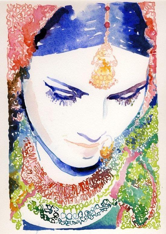 Indian bride watercolor