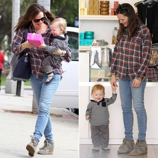Jennifer Garner Goes Shopping With a Walking Samuel