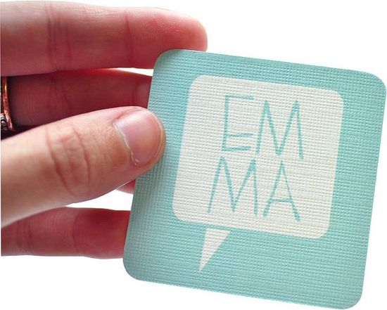 Business card of graphic designer Emma Robertson (front).