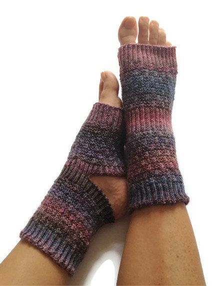 MADE TO ORDER Toeless Yoga Socks Hand Knit in by MadebyMegShop, $35.00 #purple #blue #yogasocks #pedicure #pilates #dance #toeless #handknit