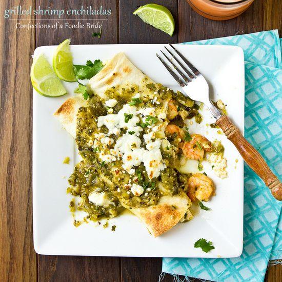 Shrimp Enchiladas with Grilled Salsa Verde