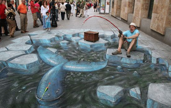 3D sidewalk chalk artists have the fantastic ability to fool the eye into seeing three dimensional objects on a completely flat surface.