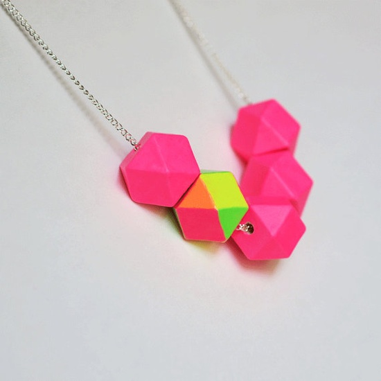 neon geometric colorblock necklace