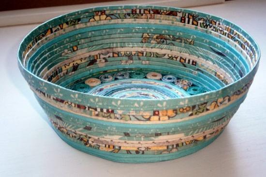 Handmade Paper Basket  Aqua large by BlueTangDesigns on Etsy