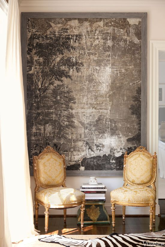 19th-c. wallpaper panels, Linda Horsely Antiques. Antique French chairs in Vervain silk. - Suellen Gregory Design - @Lynne Bernard Magazine