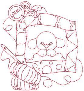 Puppy quilt redwork