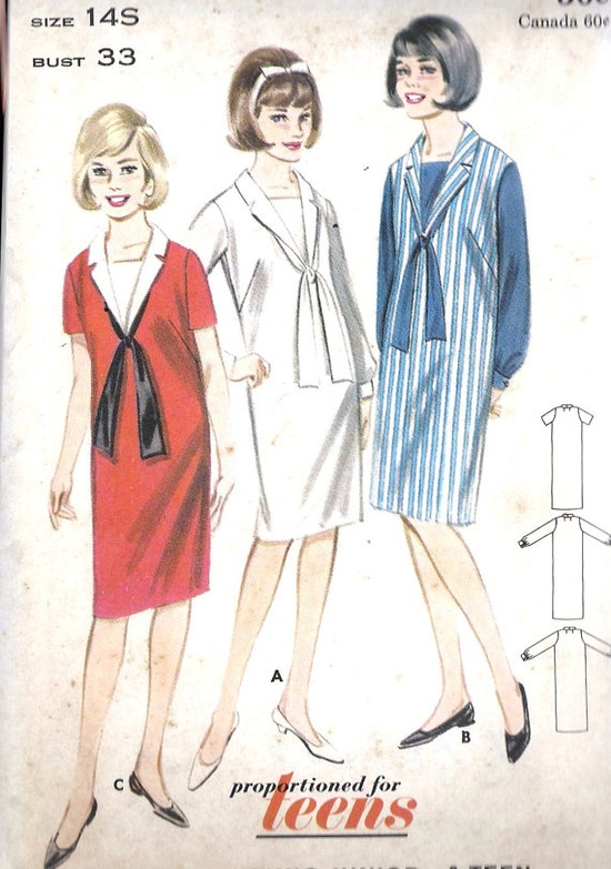 1960s Teen Shift Dress with Dickey and Tie