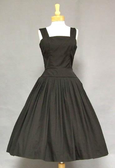 Black Cotton 1950's Sun Dress w/ Open Tie Back