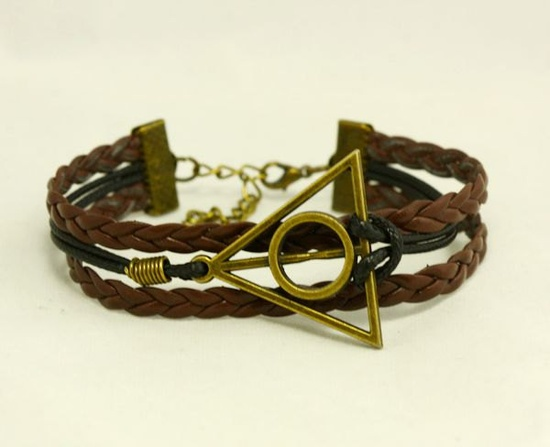 harry potter Bracelet---antique bronze Deathly Hallows& imitation leather Bracelet. $2.99, via Etsy.