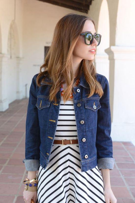 striped dress, brown belt, jean jacket