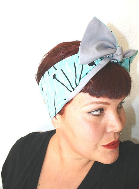 Vintage Inspired Head Scarf Reversible Retro Mod by OhHoneyHush, $19.00 #retro #pinup #headscarf #ohhoneyhush #bow Rockabilly #vintageinspired