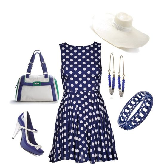 Blue Polka Dots, created by iris-ireland on Polyvore