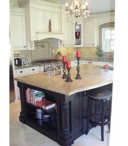 Chandelier in kitchen -traditional kitchen by Laurie Burke
