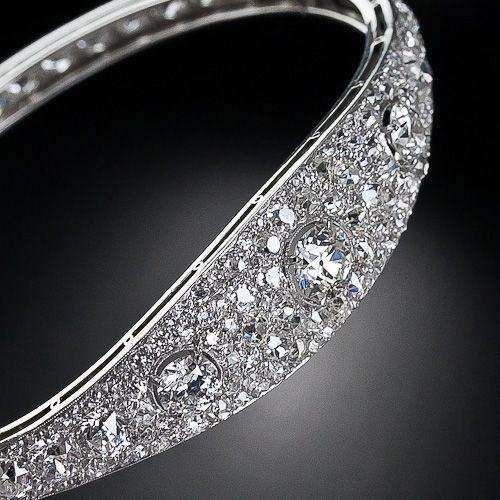 French Art Deco Diamond Bangle Bracelet, c. 1925