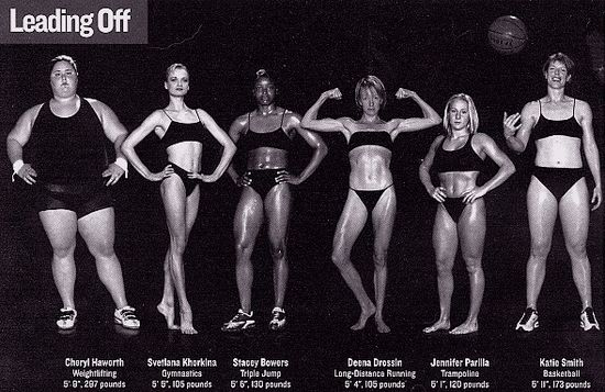 Each one of these women is an Olympic athlete. Let's challenge the notion that thinness is the only indicator of health and fitness. Unless you have the build for it, exercise won't magically make you a size 2, but it will make you stronger and feel amazing no matter what your size.