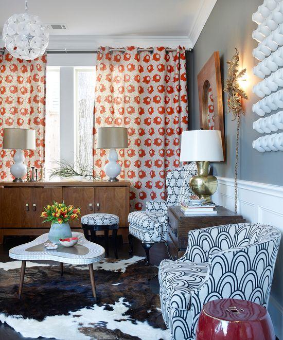 mix fun prints, great curtains.