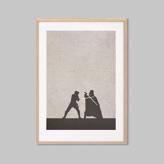 Luke Skywalker VS Darth Vader Duel Poster : Modern Star Wars Movie Seventies Illustration Retro Art Wall Decor Print A4 8 x 11