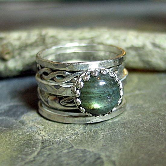 Castle Keep - set of 5 stacking rings with Labradorite    ...from LavenderCottage on Etsy