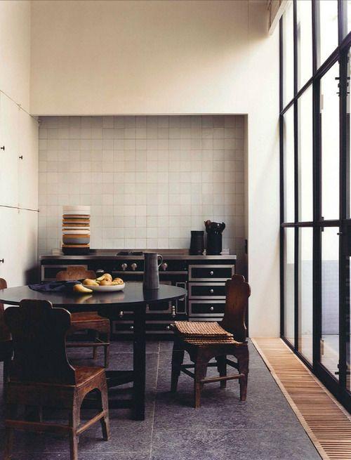 Harmonie : gris, beige, chrome mat, bois #interior