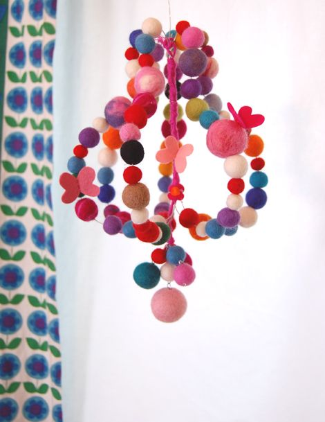 felted balls chandelier