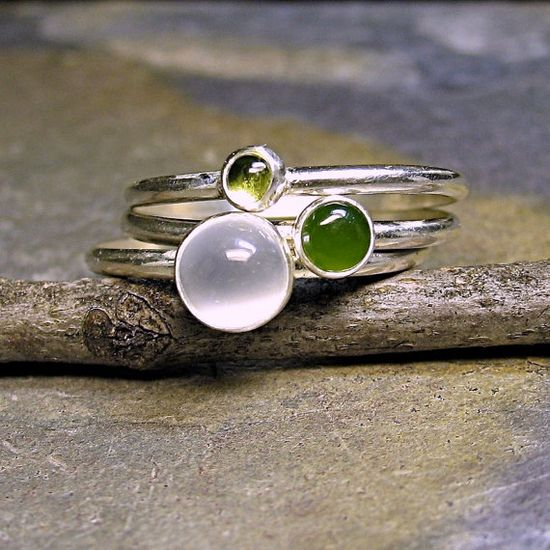 Rain Forest - sterling silver stacking rings set of 3.  White cat's eye moonstone, jade, peridot.   ....from LavenderCottage on Etsy