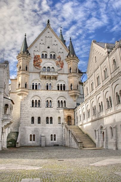 Neuschwanstein Castle courtyard, Bavaria, Germany.