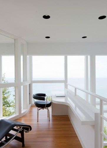 Beach study space with a view (or two); my fantasy office! #beach homes #study #office